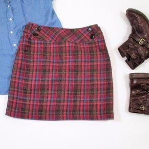 Garnet Hill Wool Tarta nPlaid Pink Mini Skirt EUC